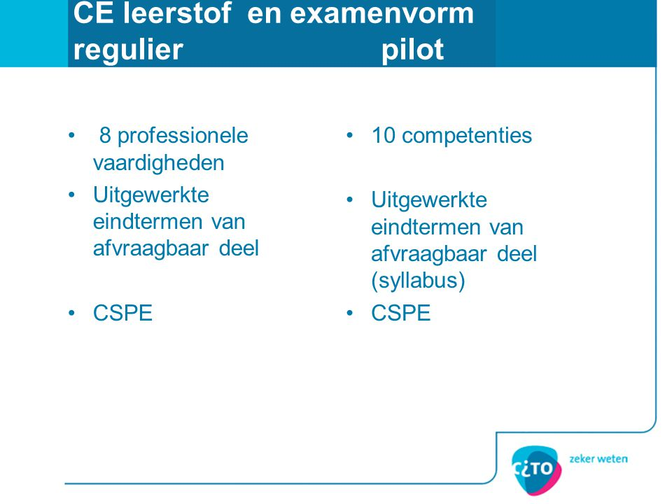 CE leerstof en examenvorm regulier pilot • 8 professionele vaardigheden •Uitgewerkte eindtermen van afvraagbaar deel •CSPE •10 competenties •Uitgewerk