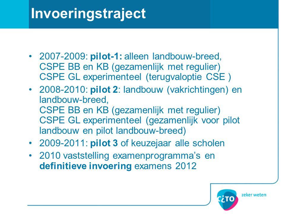 Invoeringstraject •2007-2009: pilot-1: alleen landbouw-breed, CSPE BB en KB (gezamenlijk met regulier) CSPE GL experimenteel (terugvaloptie CSE ) •200