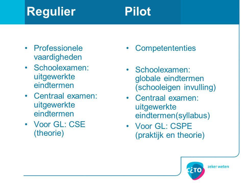 RegulierPilot •Professionele vaardigheden •Schoolexamen: uitgewerkte eindtermen •Centraal examen: uitgewerkte eindtermen •Voor GL: CSE (theorie) •Comp