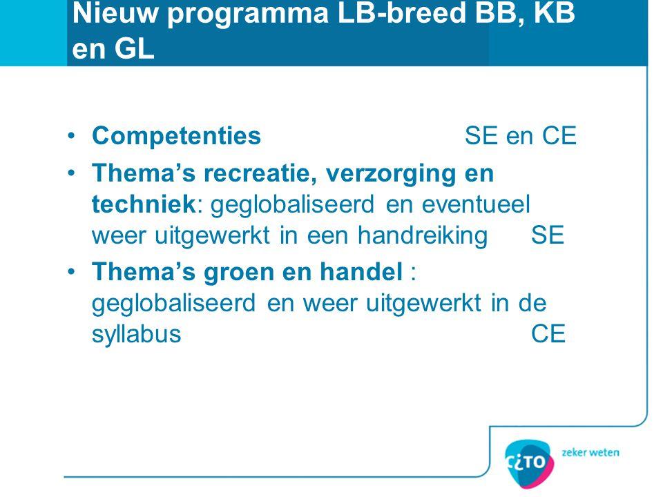 Nieuw programma LB-breed BB, KB en GL •CompetentiesSE en CE •Thema's recreatie, verzorging en techniek: geglobaliseerd en eventueel weer uitgewerkt in