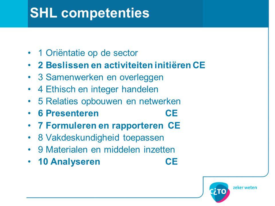 SHL competenties •1 Oriëntatie op de sector •2 Beslissen en activiteiten initiëren CE •3 Samenwerken en overleggen •4 Ethisch en integer handelen •5 R