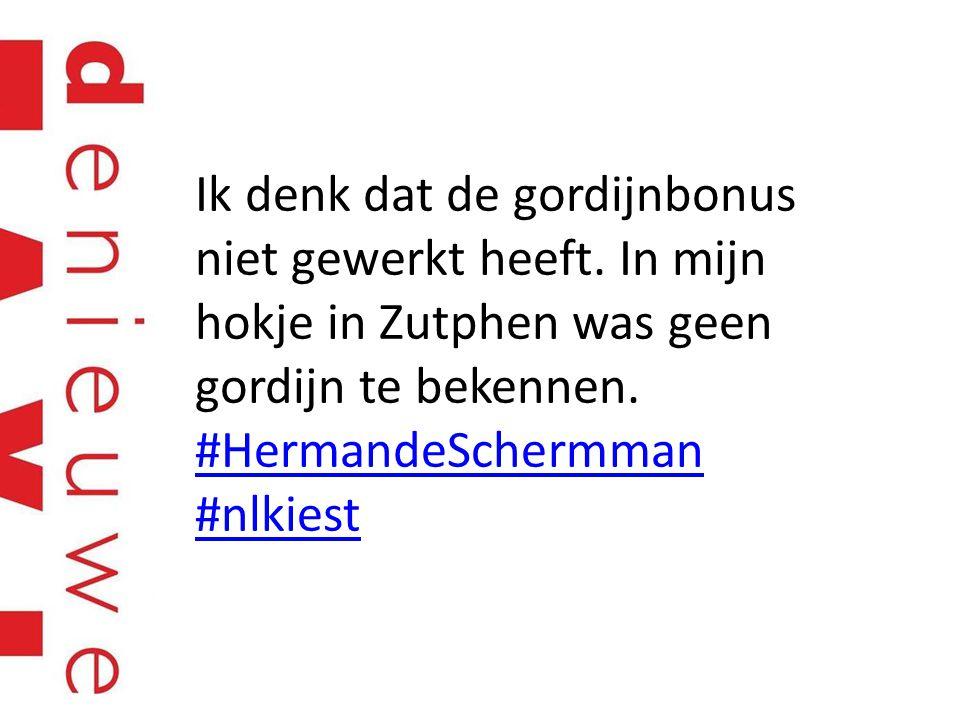 Ik denk dat de gordijnbonus niet gewerkt heeft. In mijn hokje in Zutphen was geen gordijn te bekennen. #HermandeSchermman #nlkiest #HermandeSchermman