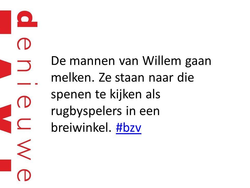 De mannen van Willem gaan melken. Ze staan naar die spenen te kijken als rugbyspelers in een breiwinkel. #bzv#bzv