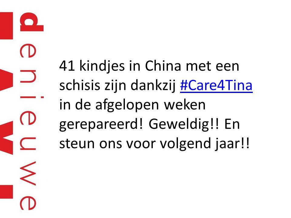41 kindjes in China met een schisis zijn dankzij #Care4Tina in de afgelopen weken gerepareerd! Geweldig!! En steun ons voor volgend jaar!!#Care4Tina