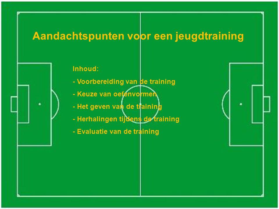 Aandachtspunten voor een jeugdtraining Inhoud: - Voorbereiding van de training - Keuze van oefenvormen - Het geven van de training - Herhalingen tijdens de training - Evaluatie van de training