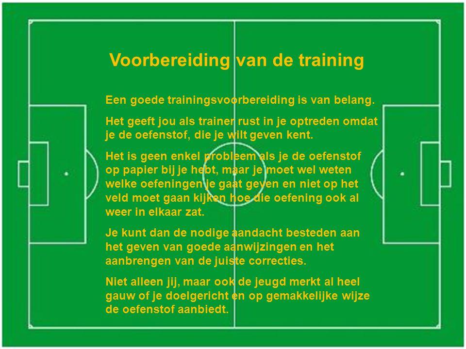 Keuze van oefenvormen Bij de keuze van de oefenvormen moet je met de volgende factoren rekening houden: -De leeftijd en de geoefendheid van de spelers.