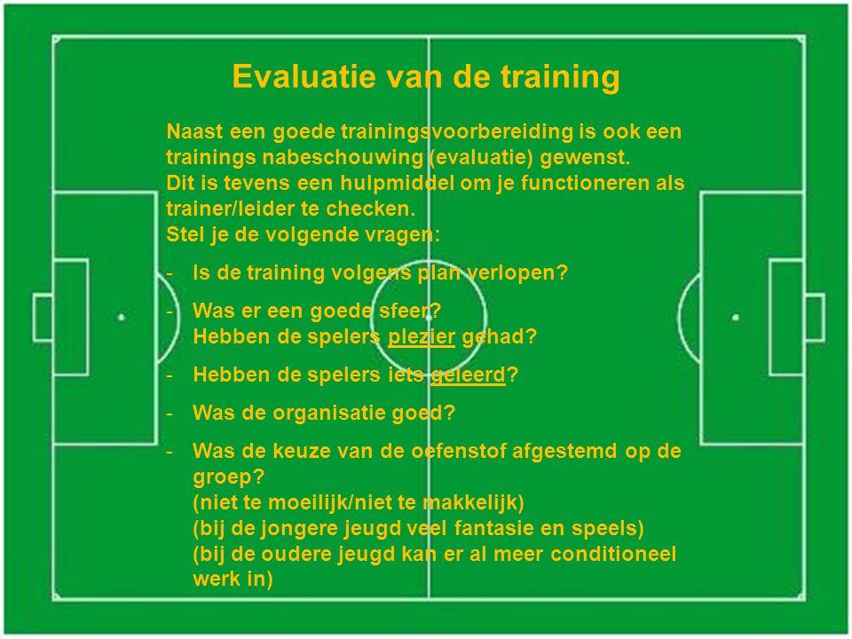 Evaluatie van de training Naast een goede trainingsvoorbereiding is ook een trainings nabeschouwing (evaluatie) gewenst.