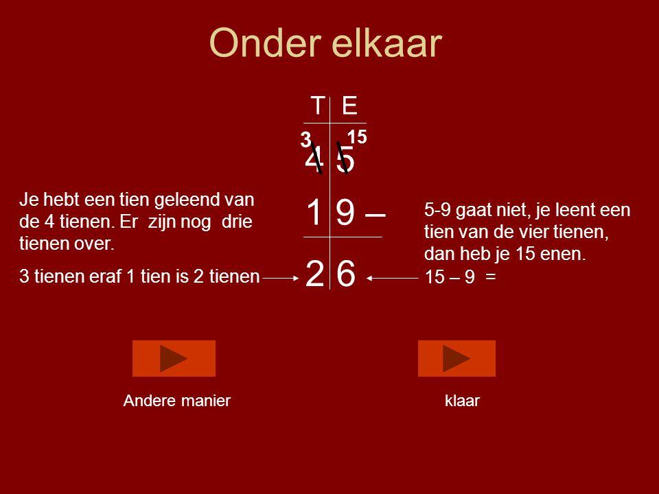 Onder elkaar 4 5 1 9 – 5-9 gaat niet, je leent een tien van de vier tienen, dan heb je 15 enen.