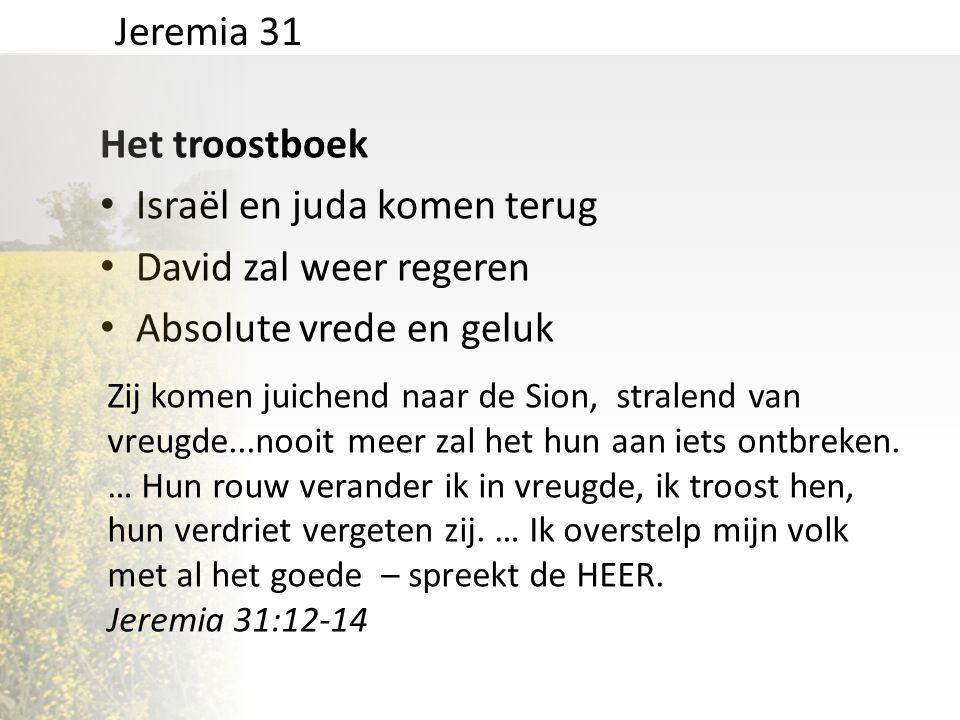 Het troostboek • Israël en juda komen terug • David zal weer regeren • Absolute vrede en geluk Jeremia 31 Zij komen juichend naar de Sion, stralend va