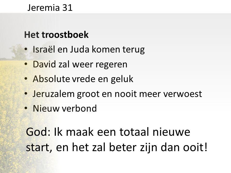 Het troostboek • Israël en Juda komen terug • David zal weer regeren • Absolute vrede en geluk • Jeruzalem groot en nooit meer verwoest • Nieuw verbon