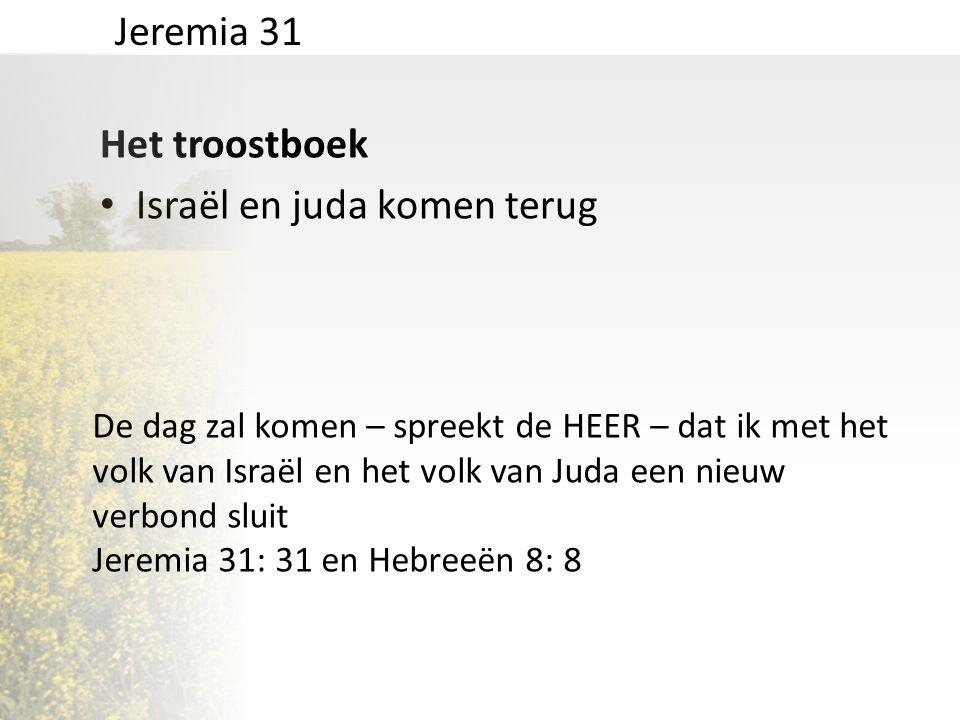 Het troostboek • Israël en juda komen terug Jeremia 31 De dag zal komen – spreekt de HEER – dat ik met het volk van Israël en het volk van Juda een ni