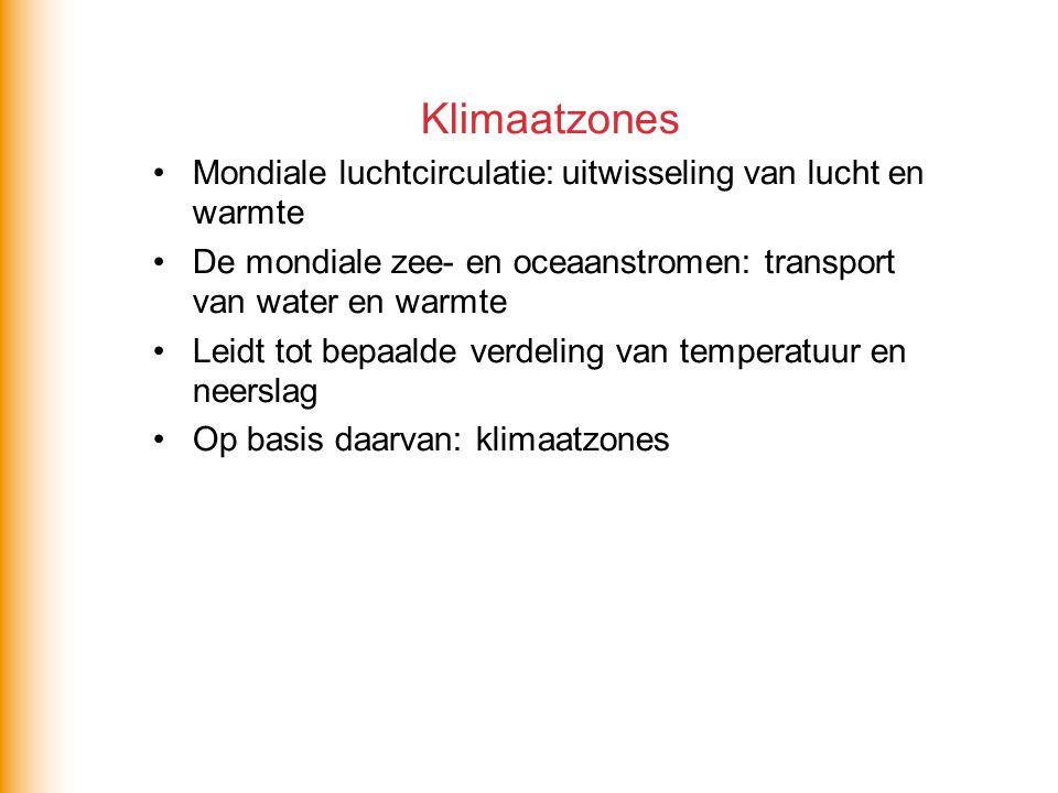 Klimaatzones •Mondiale luchtcirculatie: uitwisseling van lucht en warmte •De mondiale zee- en oceaanstromen: transport van water en warmte •Leidt tot