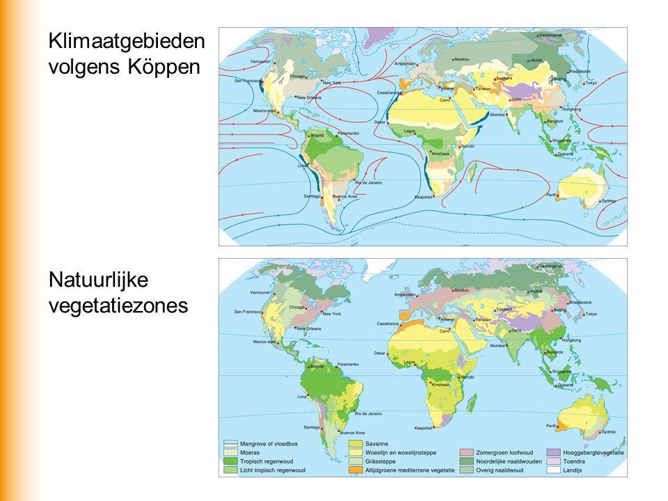 Klimaatgebieden volgens Köppen Natuurlijke vegetatiezones