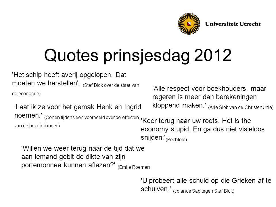 Quotes prinsjesdag 2012 'Alle respect voor boekhouders, maar regeren is meer dan berekeningen kloppend maken.' (Arie Slob van de ChristenUnie) 'Willen