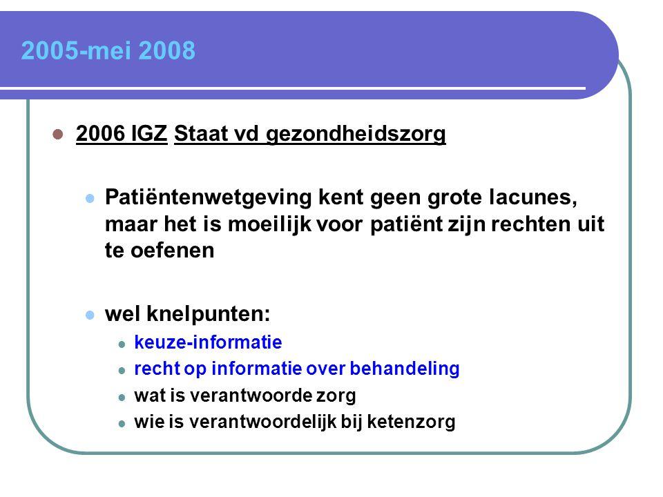 2005-mei 2008  2006 IGZ Staat vd gezondheidszorg  Patiëntenwetgeving kent geen grote lacunes, maar het is moeilijk voor patiënt zijn rechten uit te