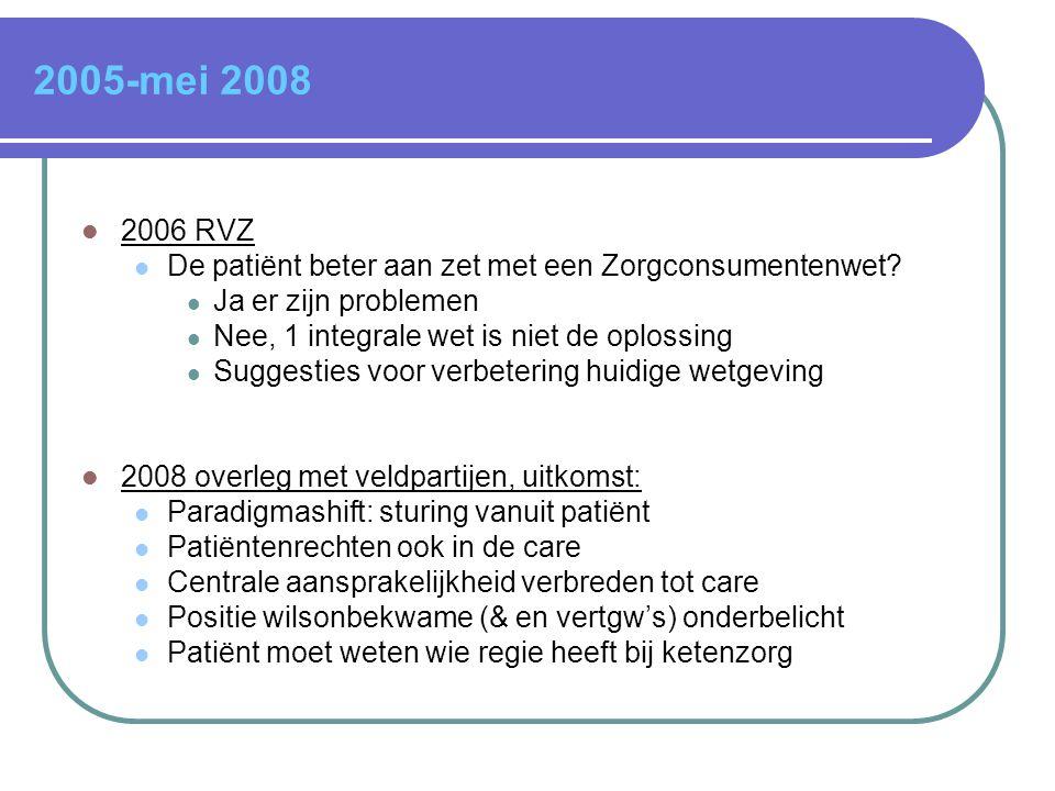 2005-mei 2008  2006 RVZ  De patiënt beter aan zet met een Zorgconsumentenwet?  Ja er zijn problemen  Nee, 1 integrale wet is niet de oplossing  S