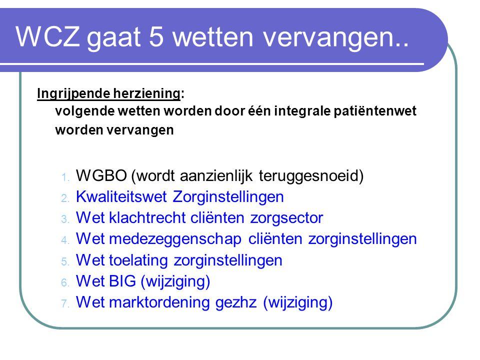 WCZ gaat 5 wetten vervangen.. Ingrijpende herziening: volgende wetten worden door één integrale patiëntenwet worden vervangen 1. WGBO (wordt aanzienli