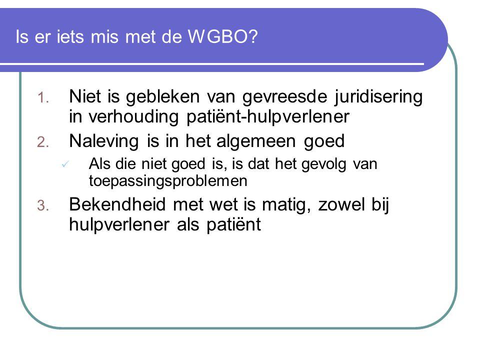 Is er iets mis met de WGBO? 1. Niet is gebleken van gevreesde juridisering in verhouding patiënt-hulpverlener 2. Naleving is in het algemeen goed  Al