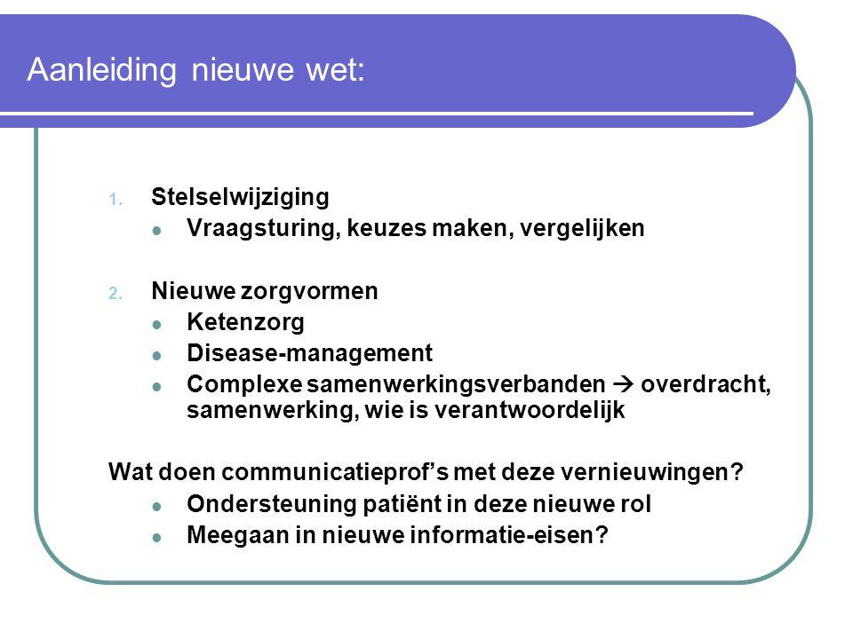 Aanleiding nieuwe wet: 1. Stelselwijziging  Vraagsturing, keuzes maken, vergelijken 2. Nieuwe zorgvormen  Ketenzorg  Disease-management  Complexe