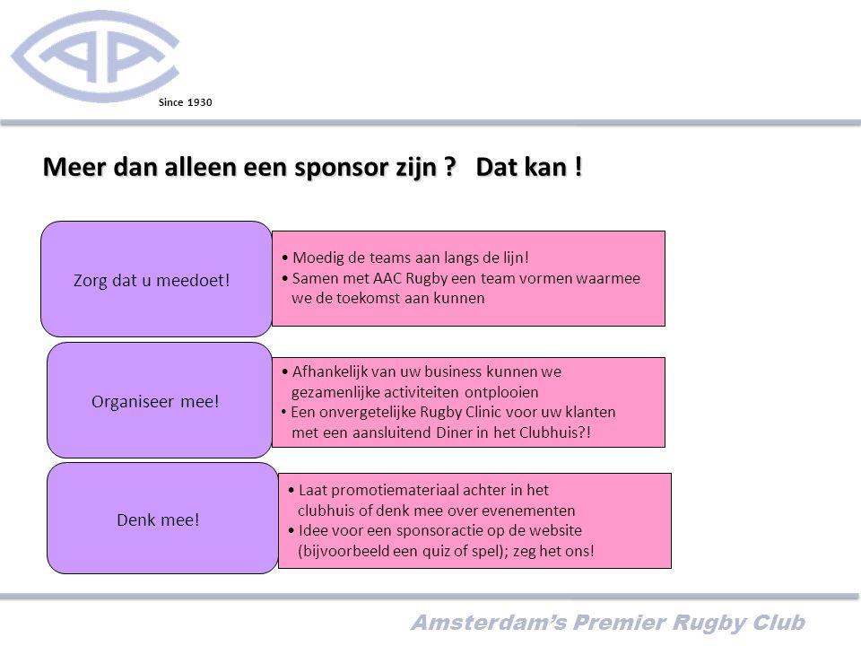 Amsterdam's Premier Rugby Club Meer dan alleen een sponsor zijn .