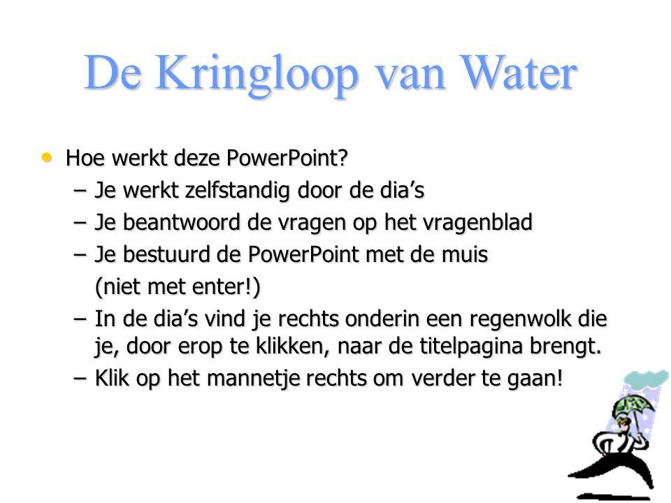 De Kringloop van Water We bekijken eerst gezamenlijk een introductiefilmpje