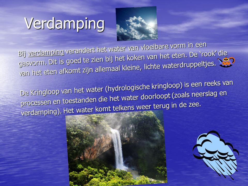 Verdamping Bij verdamping verandert het water van vloeibare vorm in een gasvorm.