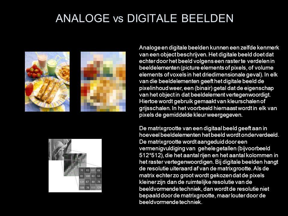 ANALOGE vs DIGITALE BEELDEN Analoge en digitale beelden kunnen een zelfde kenmerk van een object beschrijven. Het digitale beeld doet dat echter door