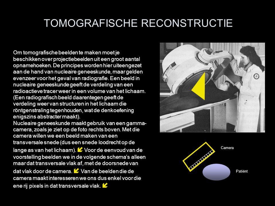 TOMOGRAFISCHE RECONSTRUCTIE Om tomografische beelden te maken moet je beschikken over projectiebeelden uit een groot aantal opnamehoeken. De principes