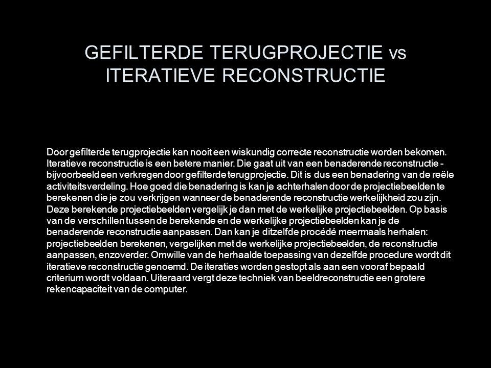 GEFILTERDE TERUGPROJECTIE vs ITERATIEVE RECONSTRUCTIE Door gefilterde terugprojectie kan nooit een wiskundig correcte reconstructie worden bekomen. It
