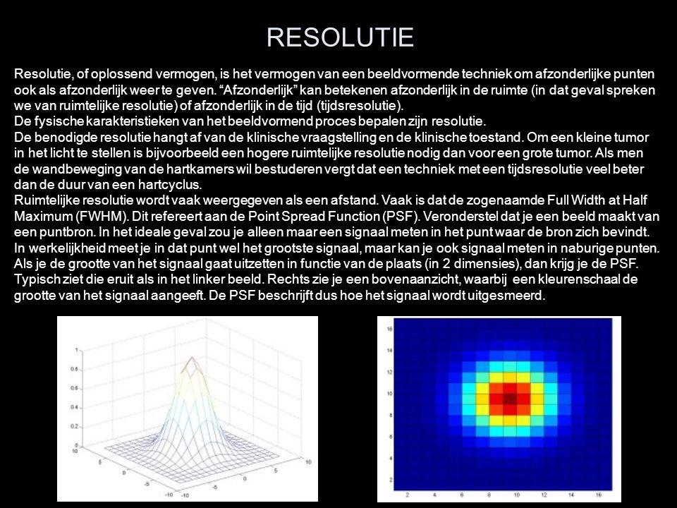 RESOLUTIE Resolutie, of oplossend vermogen, is het vermogen van een beeldvormende techniek om afzonderlijke punten ook als afzonderlijk weer te geven.