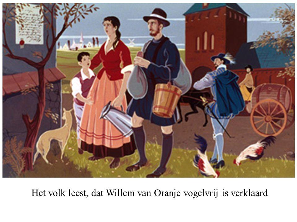 Het volk leest, dat Willem van Oranje vogelvrij is verklaard