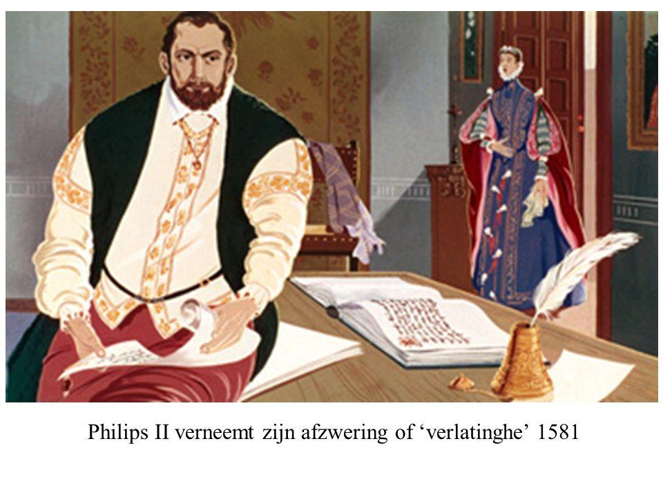 Philips II verneemt zijn afzwering of 'verlatinghe' 1581