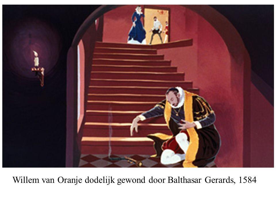 Willem van Oranje dodelijk gewond door Balthasar Gerards, 1584