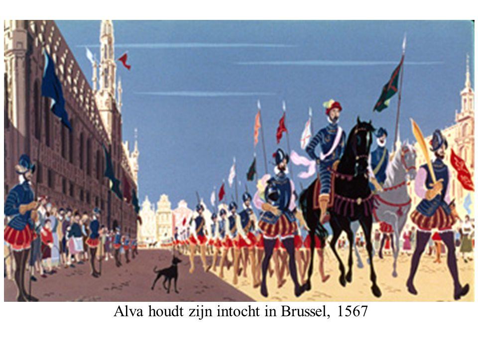 Alva houdt zijn intocht in Brussel, 1567 © copyrights,Beeldonderwijs BV