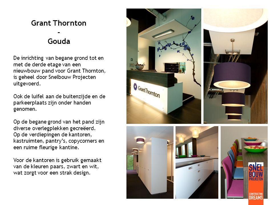 Grant Thornton - Gouda De inrichting van begane grond tot en met de derde etage van een nieuwbouw pand voor Grant Thornton, is geheel door Snelbouw Projecten uitgevoerd.