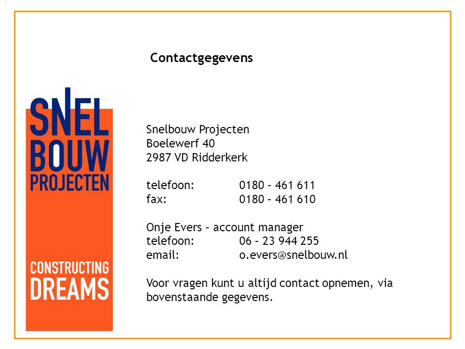 Snelbouw Projecten Boelewerf 40 2987 VD Ridderkerk telefoon:0180 – 461 611 fax:0180 – 461 610 Onje Evers – account manager telefoon: 06 – 23 944 255 email:o.evers@snelbouw.nl Voor vragen kunt u altijd contact opnemen, via bovenstaande gegevens.