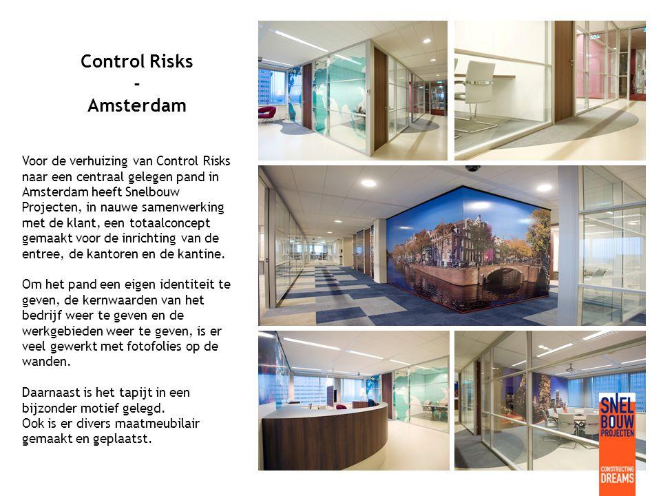 Control Risks - Amsterdam Voor de verhuizing van Control Risks naar een centraal gelegen pand in Amsterdam heeft Snelbouw Projecten, in nauwe samenwerking met de klant, een totaalconcept gemaakt voor de inrichting van de entree, de kantoren en de kantine.