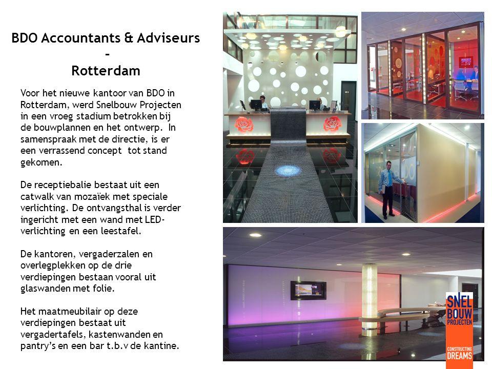 BDO Accountants & Adviseurs – Rotterdam Voor het nieuwe kantoor van BDO in Rotterdam, werd Snelbouw Projecten in een vroeg stadium betrokken bij de bouwplannen en het ontwerp.