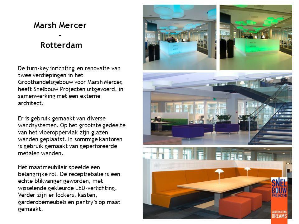 Marsh Mercer - Rotterdam De turn-key inrichting en renovatie van twee verdiepingen in het Groothandelsgebouw voor Marsh Mercer, heeft Snelbouw Projecten uitgevoerd, in samenwerking met een externe architect.