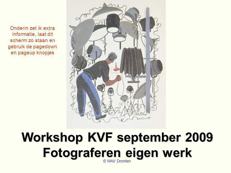 Workshop KVF september 2009 Fotograferen eigen werk © WAV Dronten Onderin zet ik extra informatie, laat dit scherm zo staan en gebruik de pagedown en