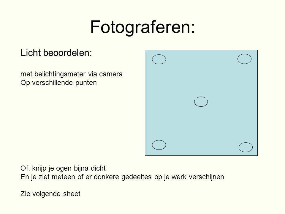 Fotograferen: Licht beoordelen: met belichtingsmeter via camera Op verschillende punten Of: knijp je ogen bijna dicht En je ziet meteen of er donkere
