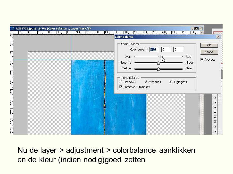 Nu de layer > adjustment > colorbalance aanklikken en de kleur (indien nodig)goed zetten