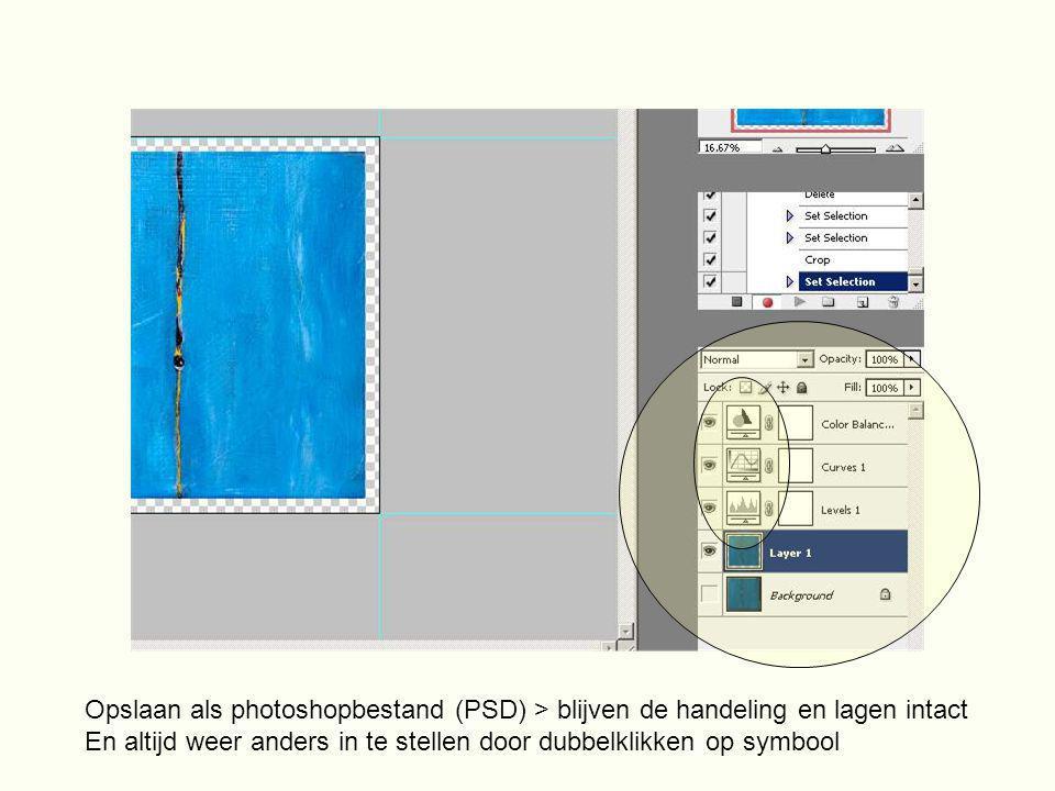 Opslaan als photoshopbestand (PSD) > blijven de handeling en lagen intact En altijd weer anders in te stellen door dubbelklikken op symbool