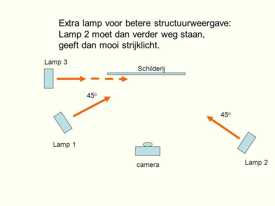 Extra lamp voor betere structuurweergave: Lamp 2 moet dan verder weg staan, geeft dan mooi strijklicht. Lamp 1 Lamp 2 45 o Schilderij camera Lamp 3