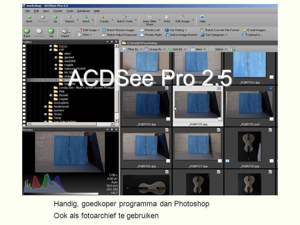 ACDSee Pro 2.5 Handig, goedkoper programma dan Photoshop Ook als fotoarchief te gebruiken
