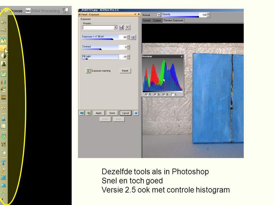 Dezelfde tools als in Photoshop Snel en toch goed Versie 2.5 ook met controle histogram