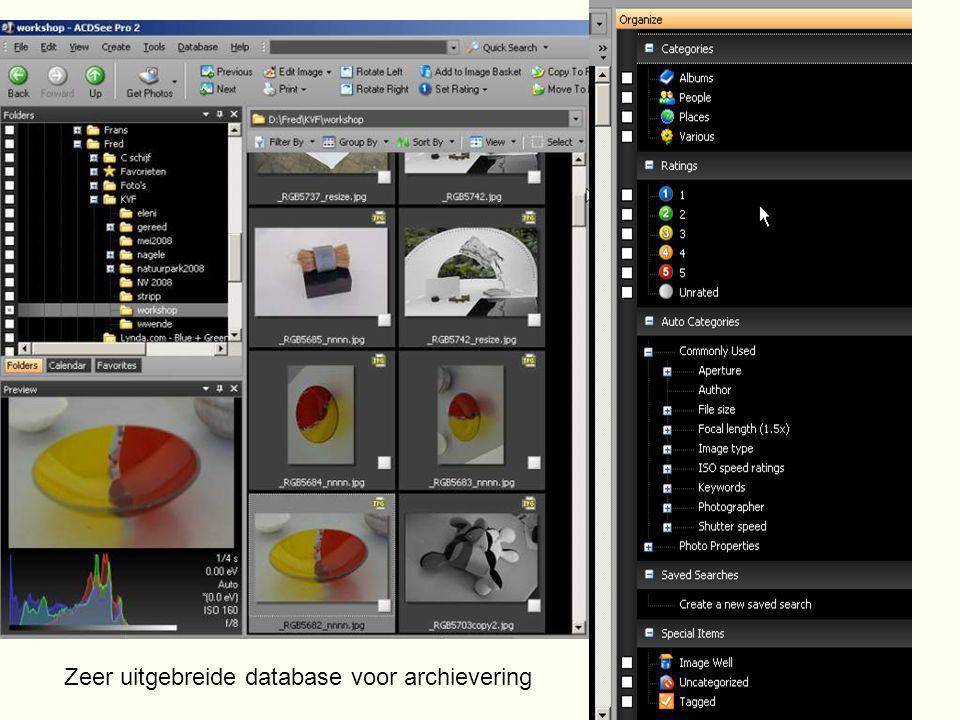 Zeer uitgebreide database voor archievering