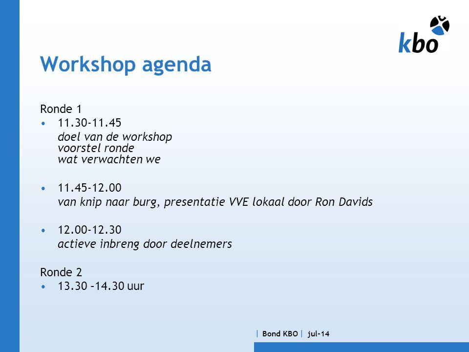 Bond KBO  jul-14 Workshop agenda Ronde 1 •11.30-11.45 doel van de workshop voorstel ronde wat verwachten we •11.45-12.00 van knip naar burg, presentatie VVE lokaal door Ron Davids •12.00-12.30 actieve inbreng door deelnemers Ronde 2 •13.30 –14.30 uur