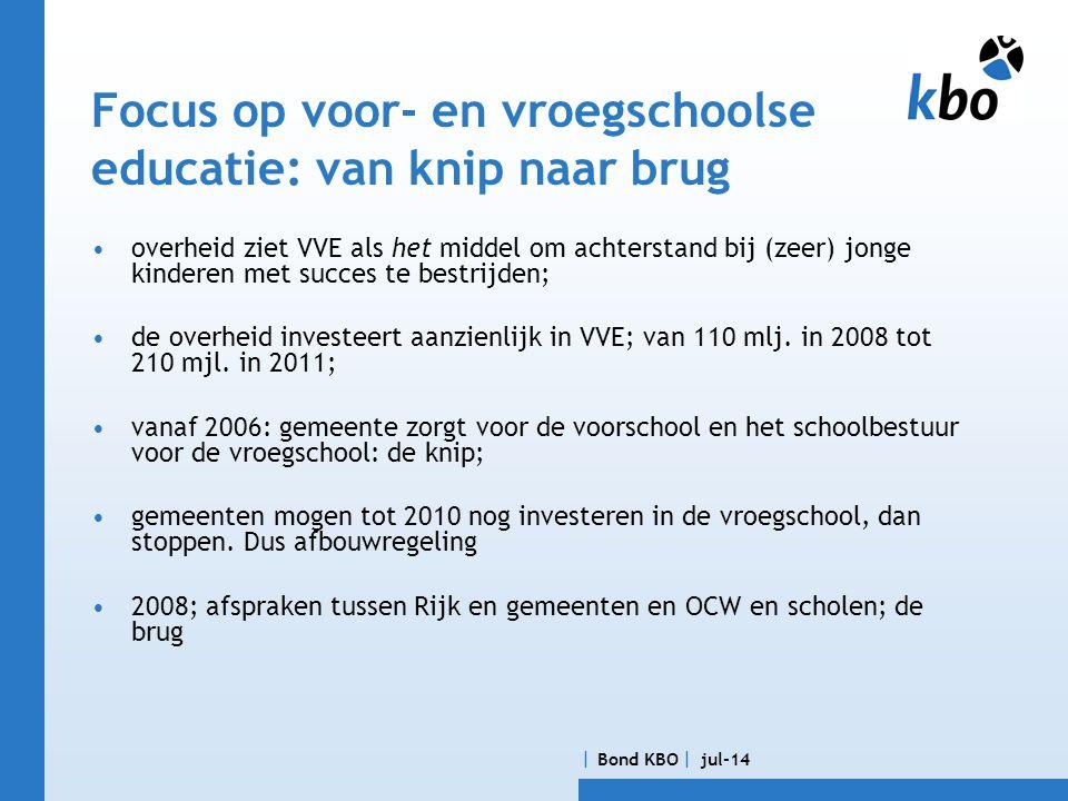  Bond KBO  jul-14 Focus op voor- en vroegschoolse educatie: van knip naar brug •overheid ziet VVE als het middel om achterstand bij (zeer) jonge kinderen met succes te bestrijden; •de overheid investeert aanzienlijk in VVE; van 110 mlj.