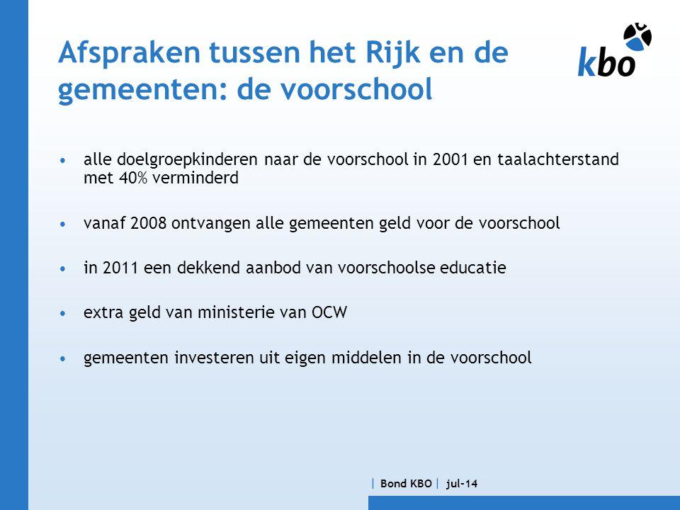  Bond KBO  jul-14 Afspraken tussen OCW en de schoolbesturen: Agenda Focus op de vroegschool •extra gewichtengelden bestemd voor de vroegschoolse educatie, in 2011; 70 mlj.